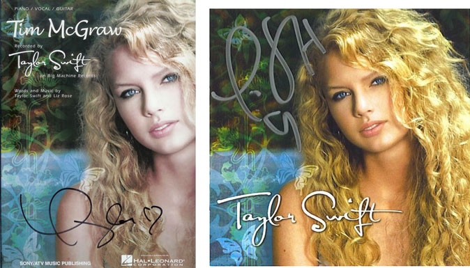 Taylor Swift Autographed CD and Tim McGraw Songbook